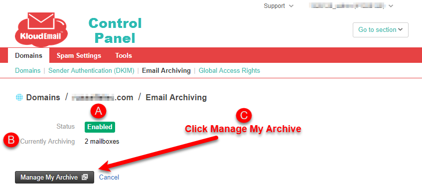 Accessing the KloudEmail Email Archiving Portal Step 3