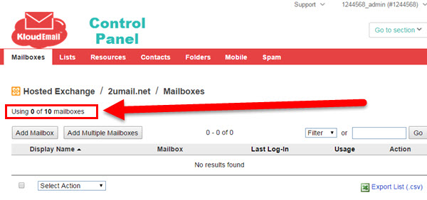 Step 3A Adding a New Mailbox (User) to your KartHost KloudEmail Hosted Exchange account
