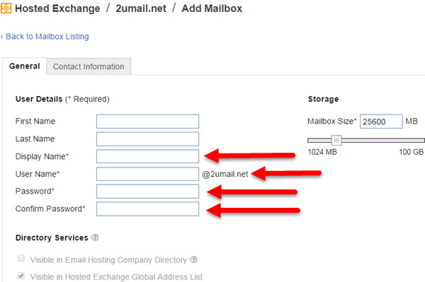 Step 4 - Adding a New Mailbox (User) to your KartHostKloud Exchange account