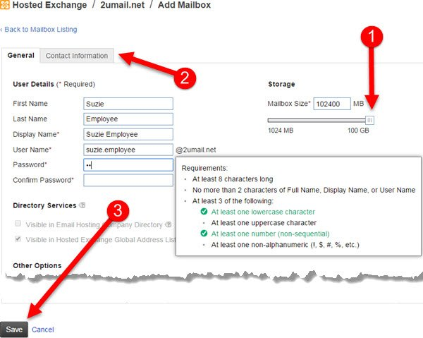 Step 5 - Adding a New Mailbox (User) to your KartHostKloud Exchange account