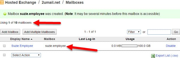 Step 7 Adding a New Mailbox (User) to your KartHost KloudEmail Hosted Exchange account