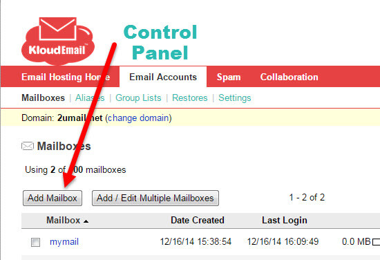Add and Delete a Professional Mail Email Mailbox Step 2