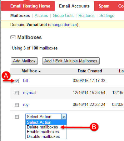 Add and Delete a Professional Mail Email Mailbox Step 5
