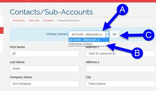 Adding a Contact or Sub-Account to your KartHost Customer Center Account Step 2