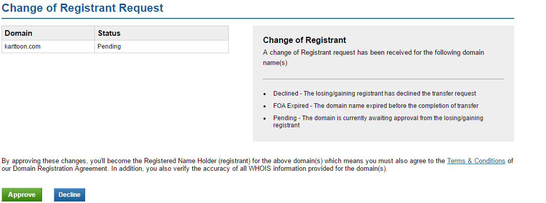 The ICANN Requirement Process of changing your domain name Registrant Contact Details Step 5
