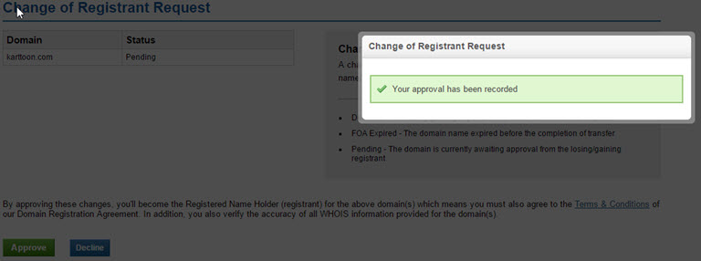The ICANN Requirement Process of changing your domain name Registrant Contact Details Step 6