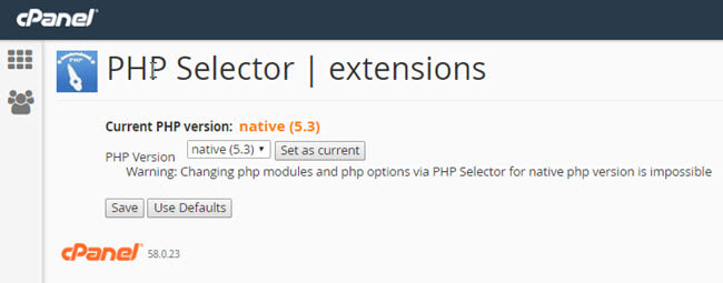 Changing PHP version and setting extensions and setting PHP options with KartHost cPanel hosting packages Step 2