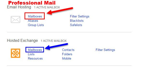 Click Mailboxes for Professional Mail and Exchange to change KloudEmail Password
