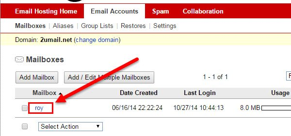 Click username under Mailbox column in KloudEmail Control Panel