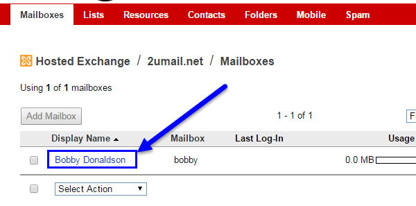Click under Display Name user name for the Exchange Mailbox in KloudEmail Control Panel