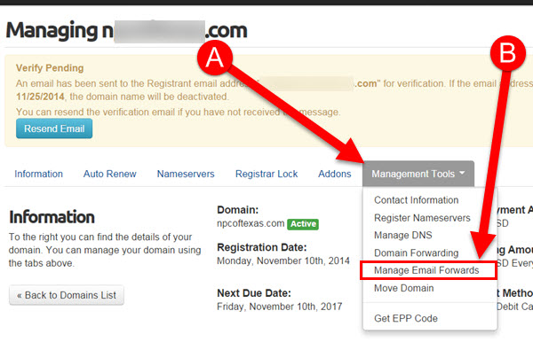Creating Free Email Forwarder with KartHost Registered Domain Step 3