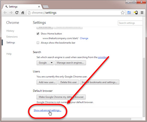 Google Chrome Advanced Settings page Step 4
