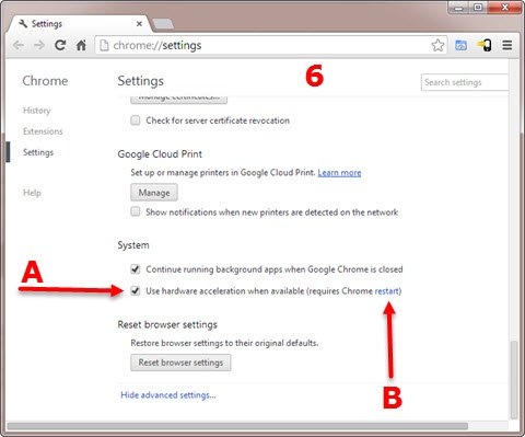 Google Chrome Advanced Settings page Step 6