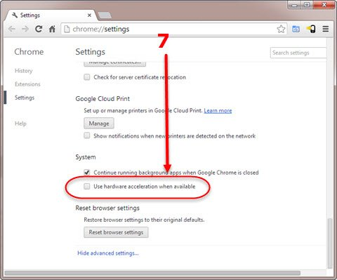 Google Chrome Advanced Settings page Step 7