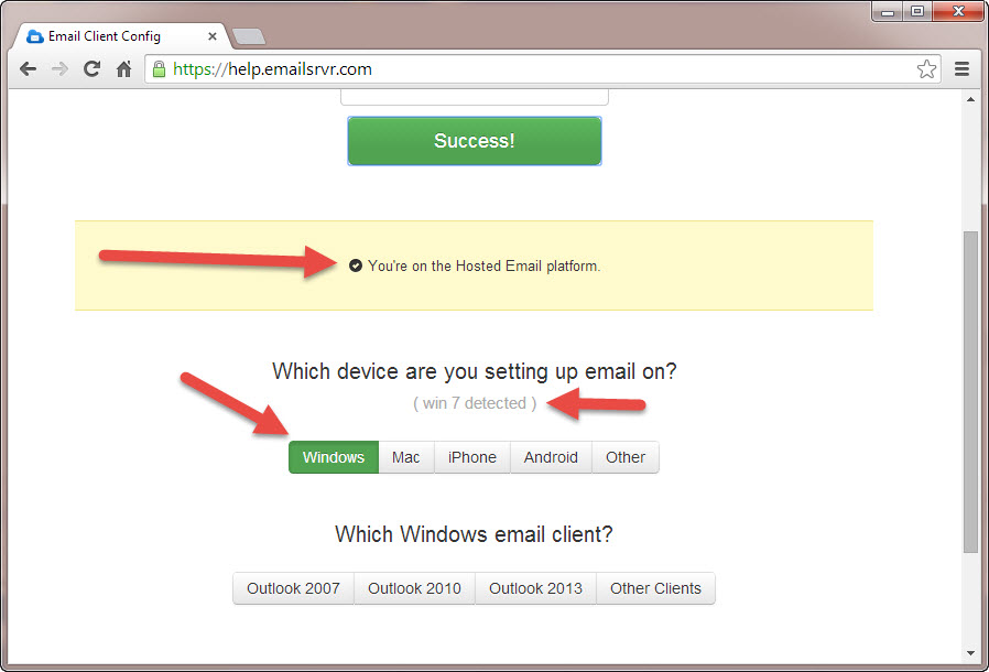 How to use the KartHostKloud Professional Mail Configuration Tool to set up your device Step 2