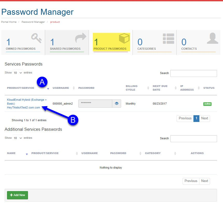 Password Manager in the KartHost Customer Center Walk Through PRODUCT PASSWORDS.