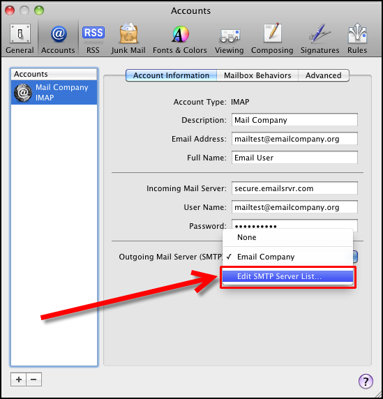 Step 2 to change MD5-Challenge to Password Authentication in Mac Mail