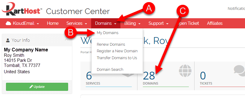 Moving Your Domain Name to Another Customer Center Account Customer Step 2