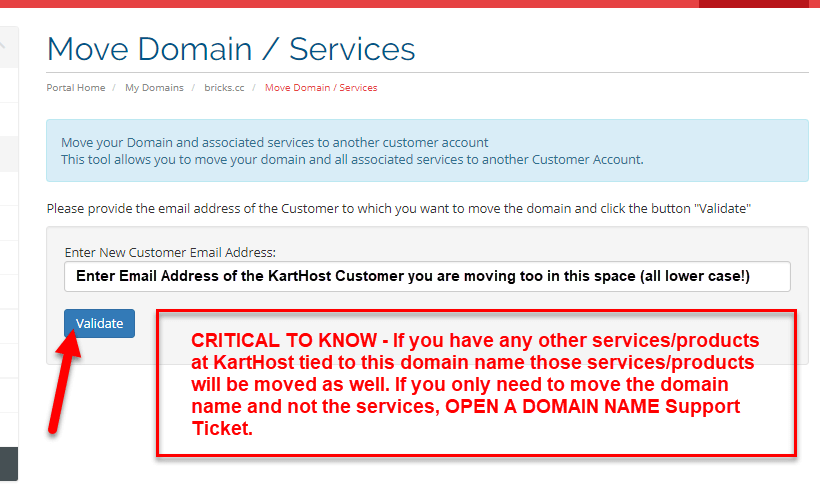 Step 6 moving Domain Name from one KartHost Customer to Another.
