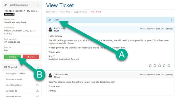 Replying to a KartHost Support Ticket