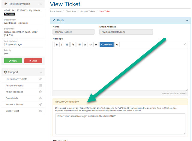 Adding Secure Content to an existing KartHost Support Ticket