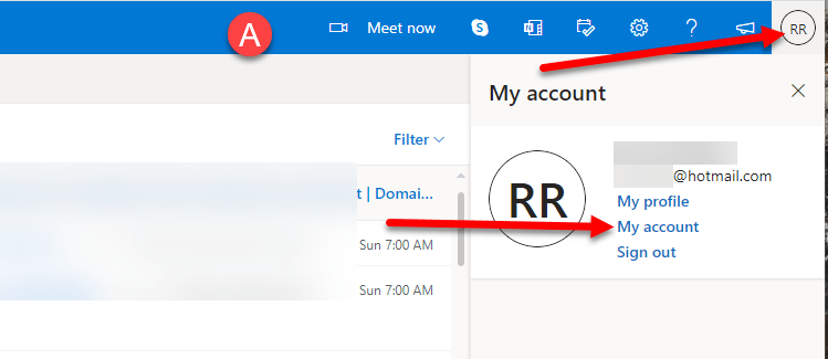 Outlook.com App Password Generation How To Step 1
