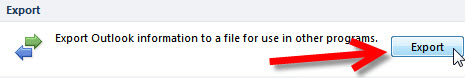 Step 4 Exporting your Outlook 2010 to KartHostKloud Mail
