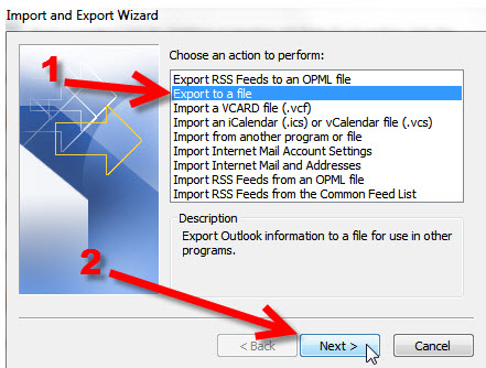 Step 5 Exporting your Outlook 2010 to KartHostKloud Mail