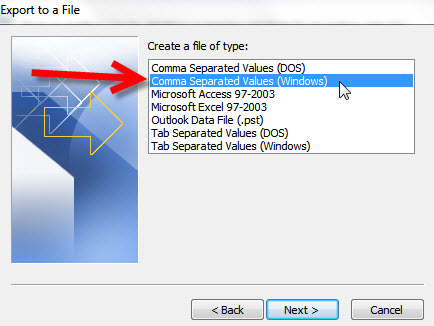 Step 6 Exporting your Outlook 2010 to KartHostKloud Mail