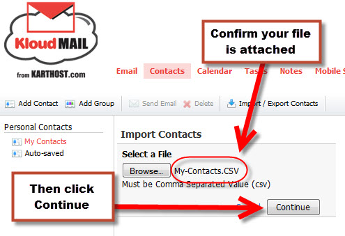 Step 12 Exporting your Outlook 2010 to KartHostKloud Mail