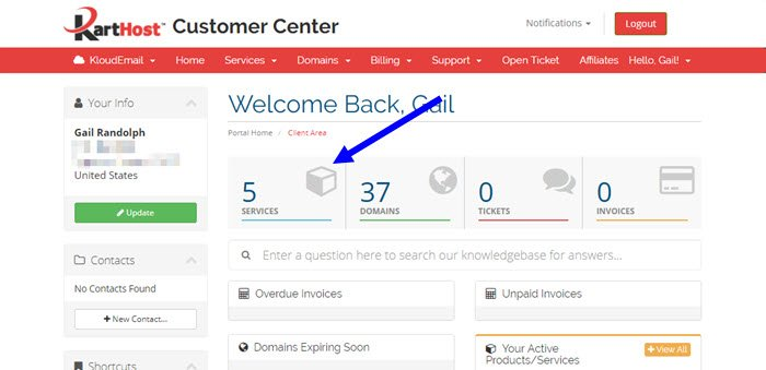 Changing your KloudEmail Mailbox Password in the KartHost Customer Center Step 1