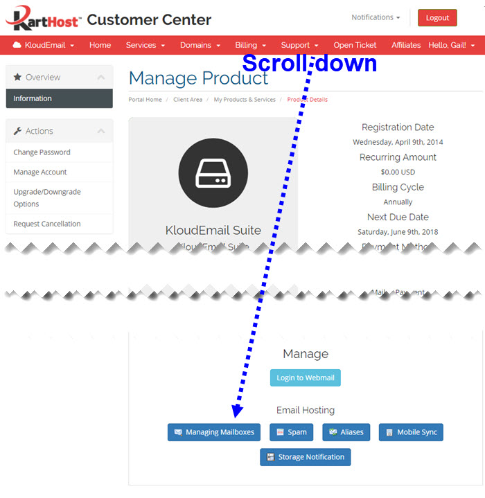 Changing your KloudEmail Mailbox Password in the KartHost Customer Center Step 3