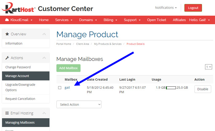 Changing your KloudEmail Mailbox Password in the KartHost Customer Center Step 4