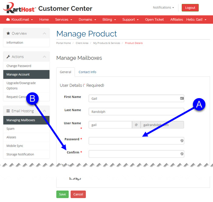 Changing your KloudEmail Mailbox Password in the KartHost Customer Center Step 5