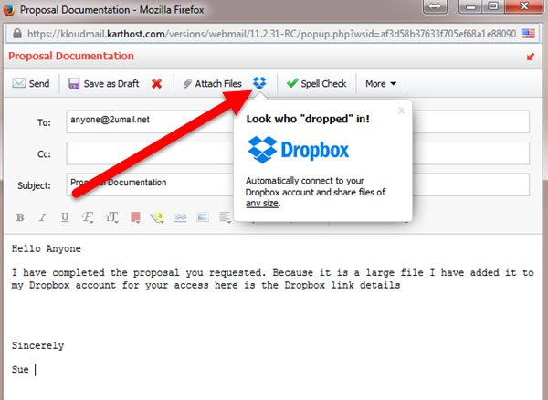 Using Dropbox to send large files of any size with KloudEmail Professional Webmail Step 1