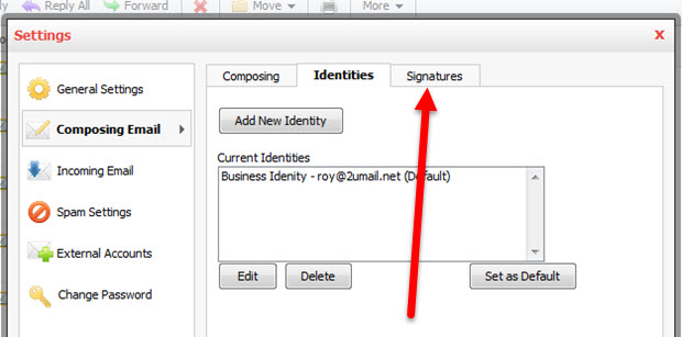 Add and Change Signature and Identity in Professional Email Step 3