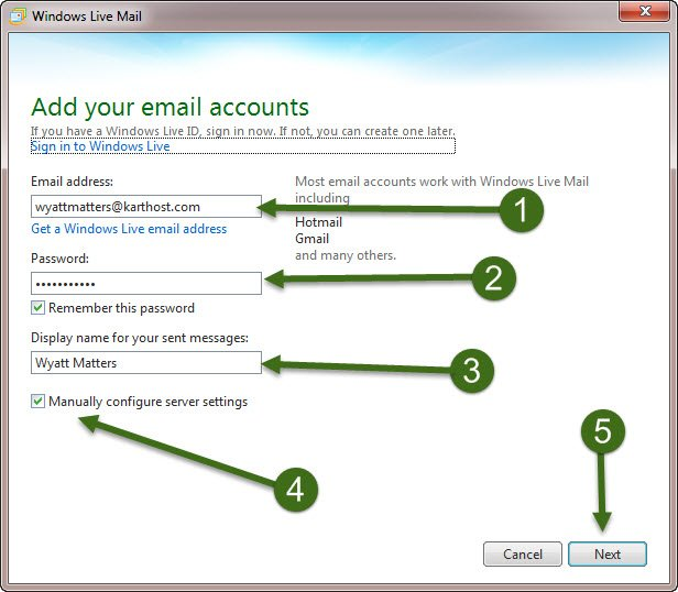 Step 1 How to Setup IMAP using Windows Live Mail