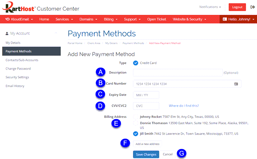 How to Add, Delete or Change your Credit Card in the KartHost Customer Center Step 2A