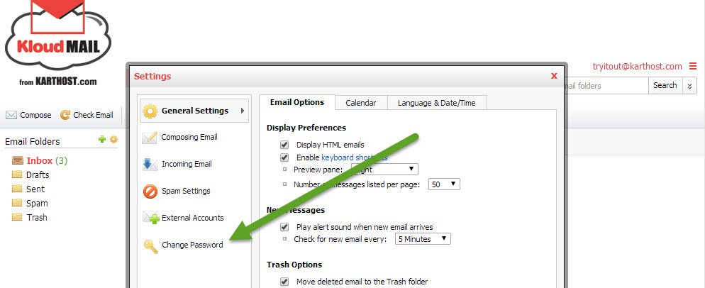 Step 2 to Change Your KartHostKloud Mail Password in Webmail
