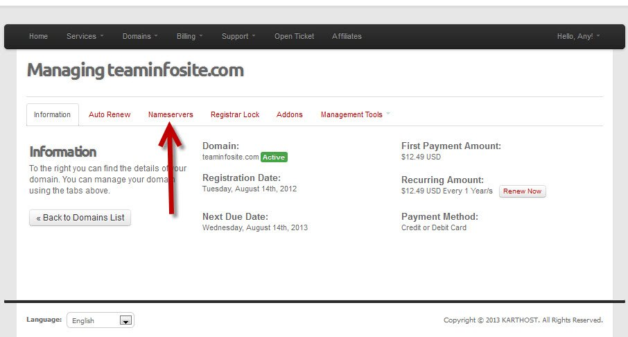 Login to KartHost Customer Center to Manage Domain Name Forwarding Step 3