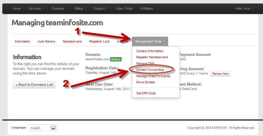 Login to KartHost Customer Center to Manage Domain Name Forwarding Step 4A