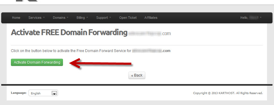 Login to KartHost Customer Center to Manage Domain Name Forwarding Step 5
