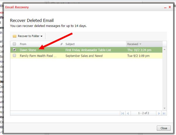 14 Day Backup restore for KloudEmail Professional Mail Step 3